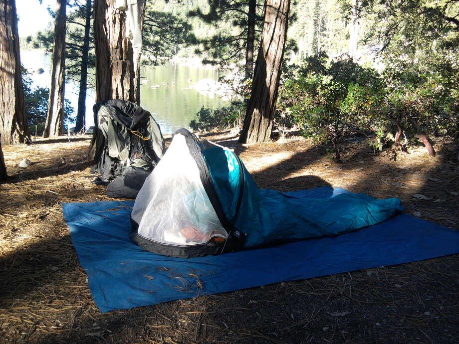 I keep my pack light by using a bivy bag for weather and bugs at night, no tent -- this campsite now at risk from fire Photo: Tom Stienstra/The Chronicle