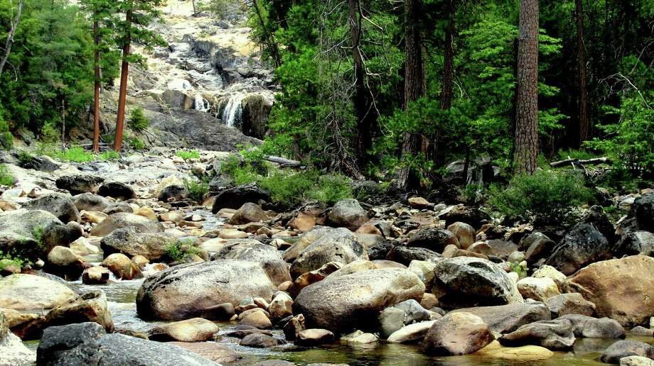 Rancheria Creek (and waterfalls) tumbles through that notch, a spot to soak your feet and tank up your water bottles -- this too, as fire goes north, not east, is out of danger zone for now Photo: Michael Furniss/Wild Earth Press, Picasa