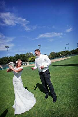 "Drew Erhlich, 31, is a former pitcher for the Stanford baseball team who now co-owns San Jose-based Strike Brewing Company. Katie McGlennon, 29, is a lifelong San Francisco Giants fan and a self-proclaimed ""Bud Light Girl."" They married at Stanford's Memorial Church in June, with a beer- and baseball-themed wedding."