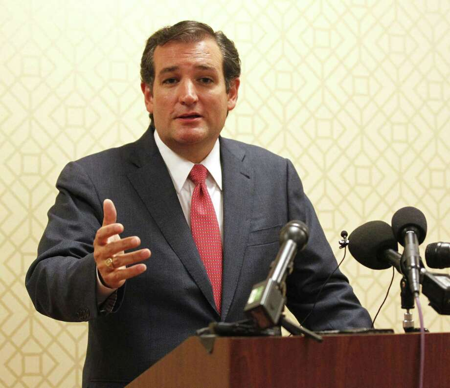 Sen. Ted Cruz (R-Texas) talks to the media before speaking with the Heritage Foundation at the Hilton Anatole Hotel in Dallas, Texas, Tuesday, August 20, 2013. Cruz discussed the push to remove funding for federal health care law. (Michael Ainsworth/Dallas Morning News/MCT) Photo: Michael Ainsworth, MBR / Dallas Morning News