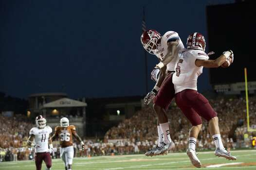 Joshua Bowen #6 of the New Mexico State Aggies celebrates after scoring a touchdown against the Longhorns. Photo: Cooper Neill, Getty Images