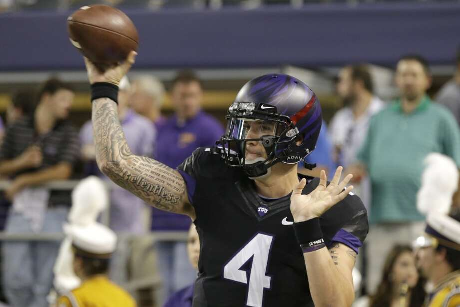 TCU quarterback Casey Pachall (4) warms up before an NCAA college football game against the LSU  Saturday, Aug. 31, 2013, in Arlington, Texas. (AP Photo/LM Otero) Photo: Associated Press
