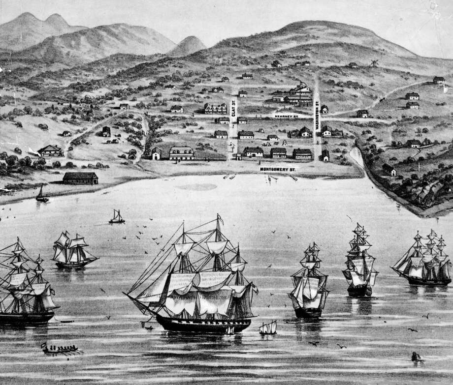 A drawing of San Francisco, formerly Yerba Buena, in 1846-1847.