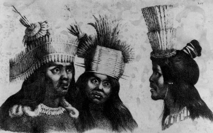 San Francisco Mission Indians with ceremonial headdresses. (Drawing by L. Choris, 1816)