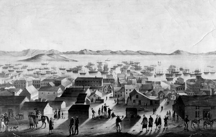 An illustration of dawn in Gold Rush San Francisco, but the settlement is awake and bustling. Along its unpaved streets, in a picturesque pageant of the frontier, residents start their day.