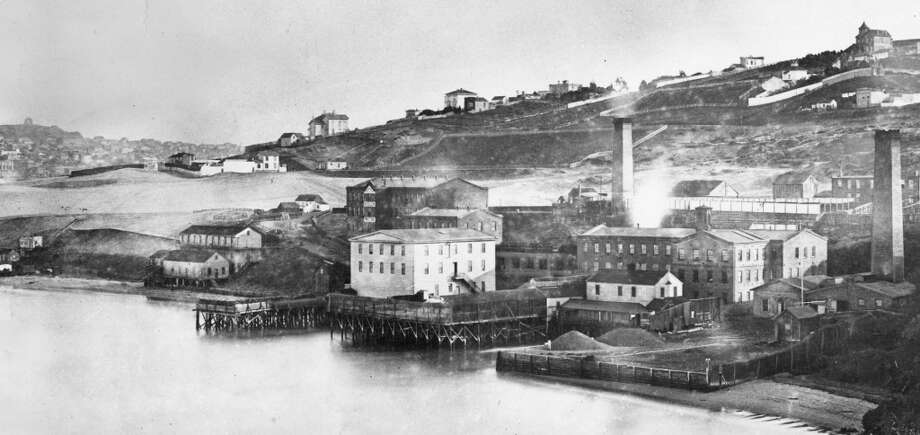 This photo, taken about early 1860's, shows Ghiradellli Building and area. Photo: Photo From Files Of Maritime Museum