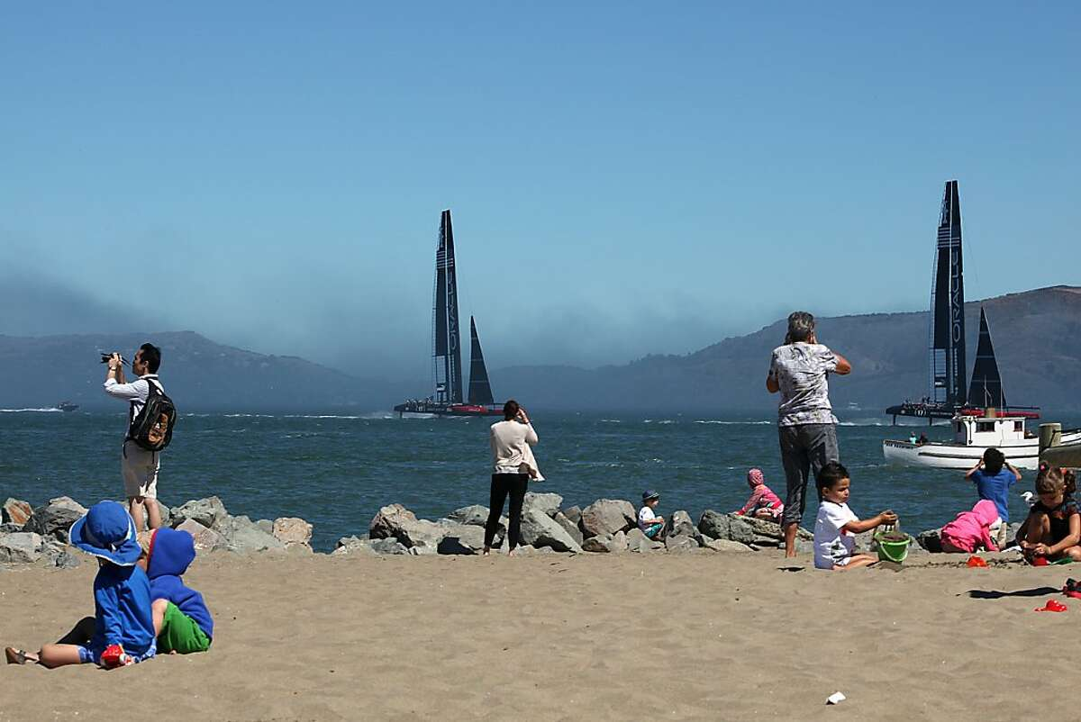 Visitors to Crissy Field on Friday watch team members practice for a youth competition.