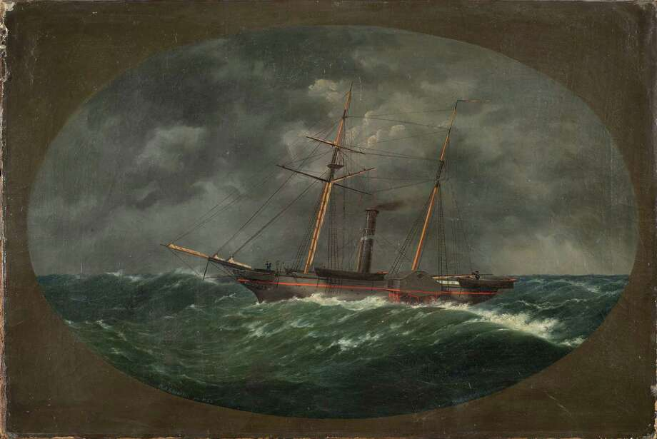 In this photograph of an 1852 painting by W.A.K. Martin, provided Monday, Aug. 26, 2013, by the National Oceanic and Atmospheric Administration, depicts the ship, USCS Robert J. Walker, which sank June 21, 1860, ten miles off the New Jersey coast. More than 153 years after it was lost in a collision at sea, government and university maritime investigators say they have identified the wreck of the steamer that served in the U.S. Coast Survey, a predecessor of NOAA. Photo: AP
