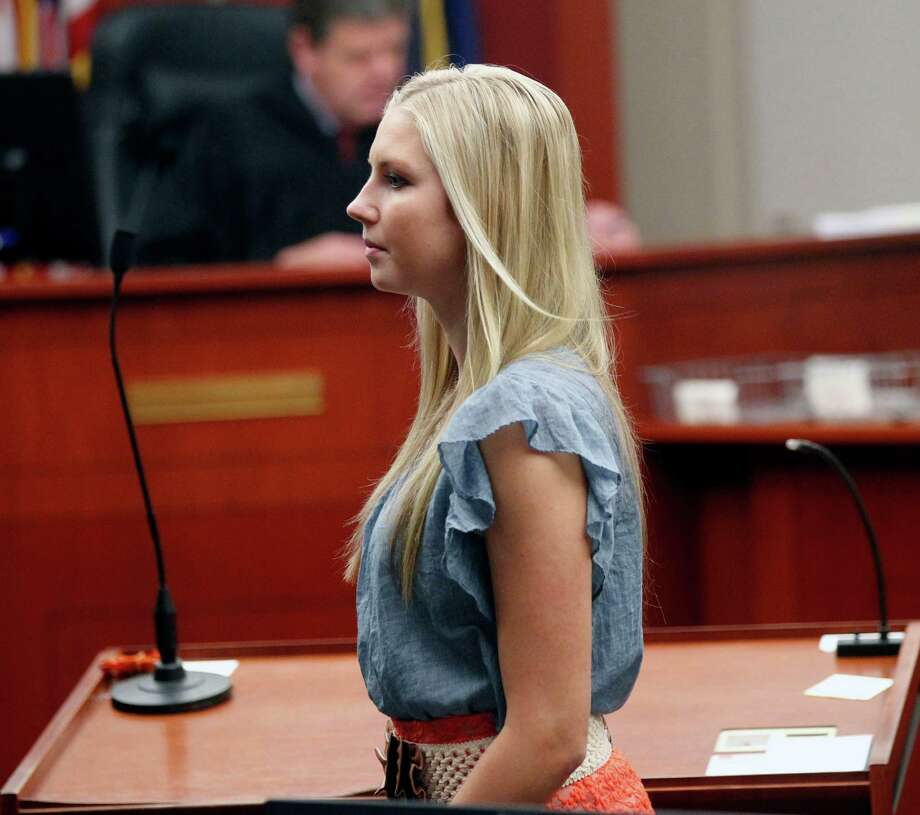 Kendra Gill, former Miss Riverton, makes her initial court appearance in Fourth District Court in Salt Lake  City, Thursday Aug. 29, 2013 for throwing homemade bottle bombs from a vehicle. Gill and three friends waived a reading of charges in court and were ordered to reappear Sept. 26 for a scheduling conference. (AP Photo/The Salt Lake Tribune, Al Hartmann)  Photo: AP