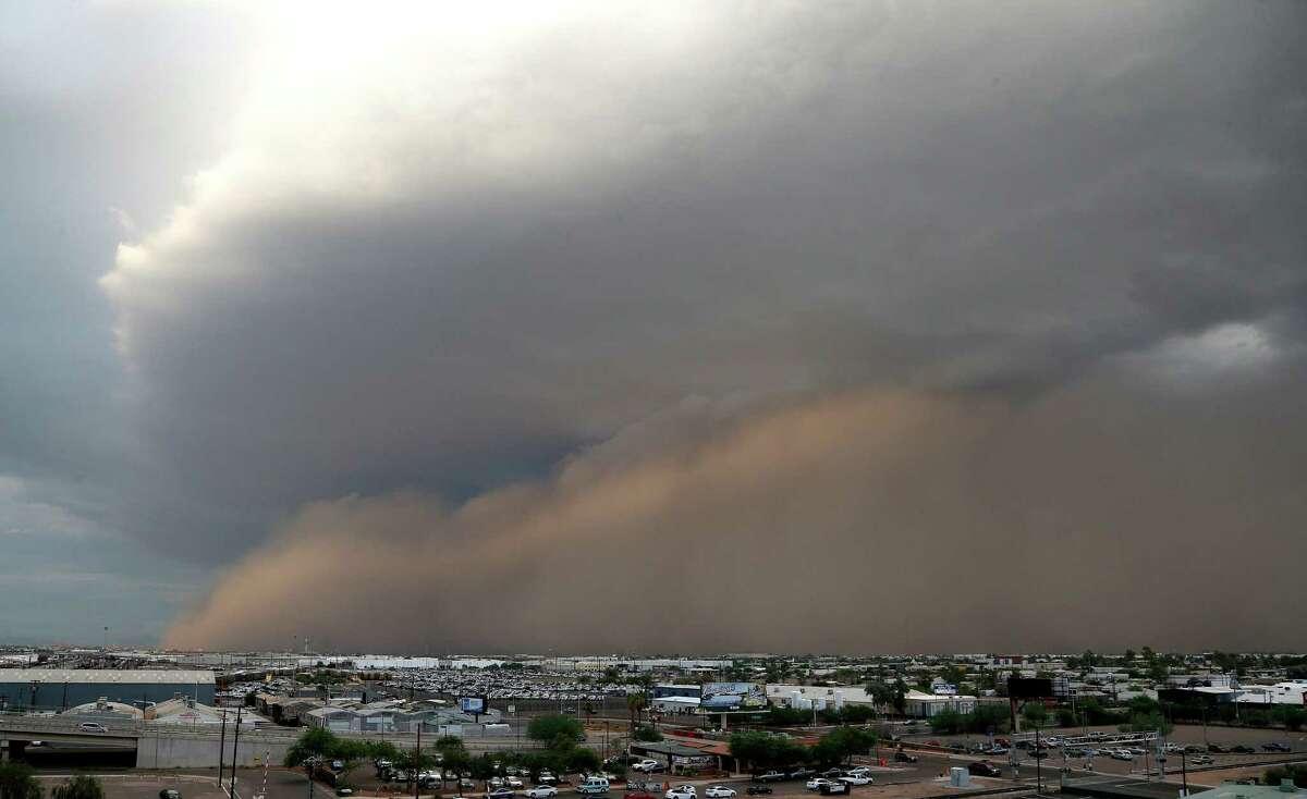 A dust storm moves through Phoenix on Monday, Aug. 26, 2013.