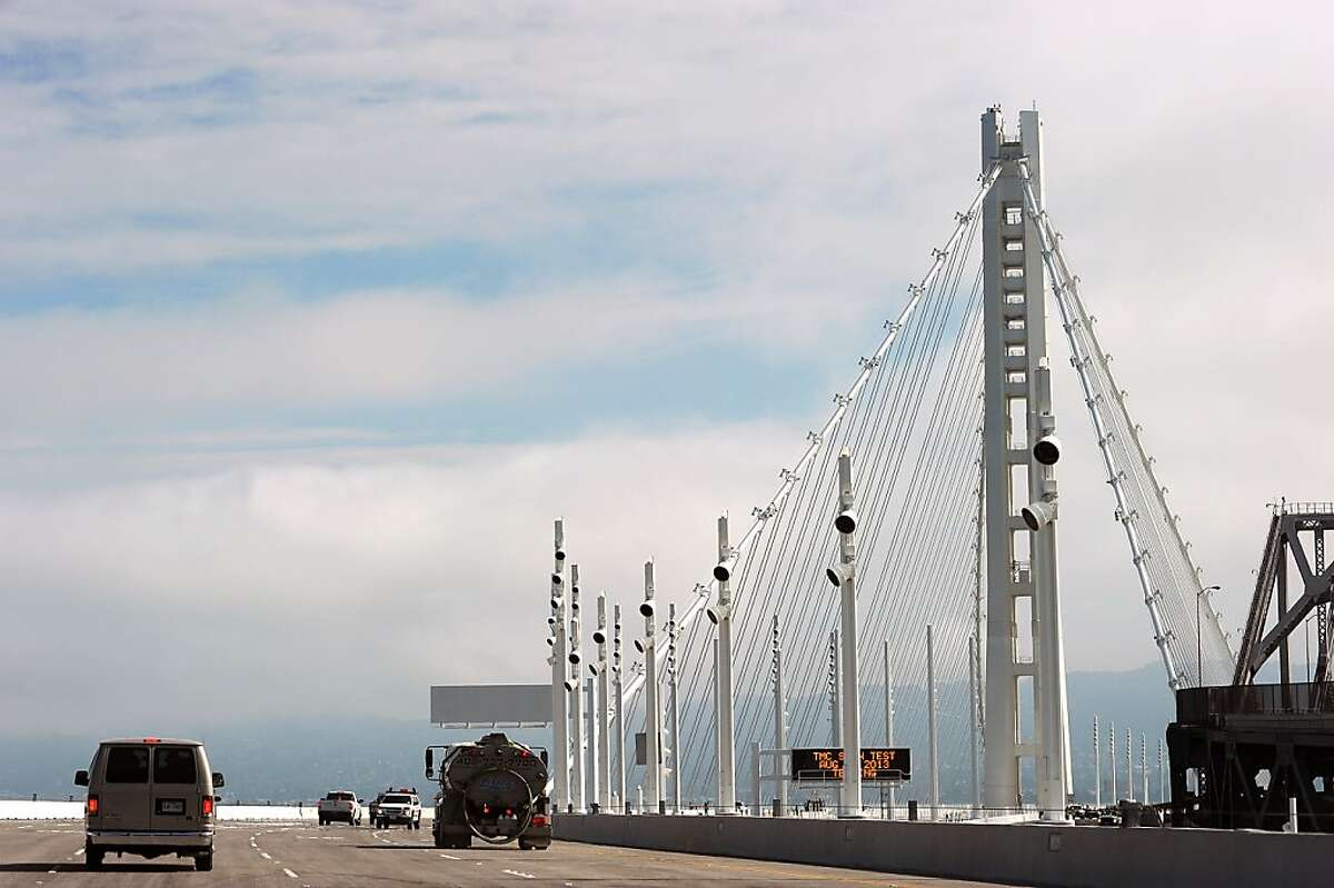 A view of the SAS tower of the new eastern span of the Bay Bridge in Oakland, California, Sunday September 1, 2013.
