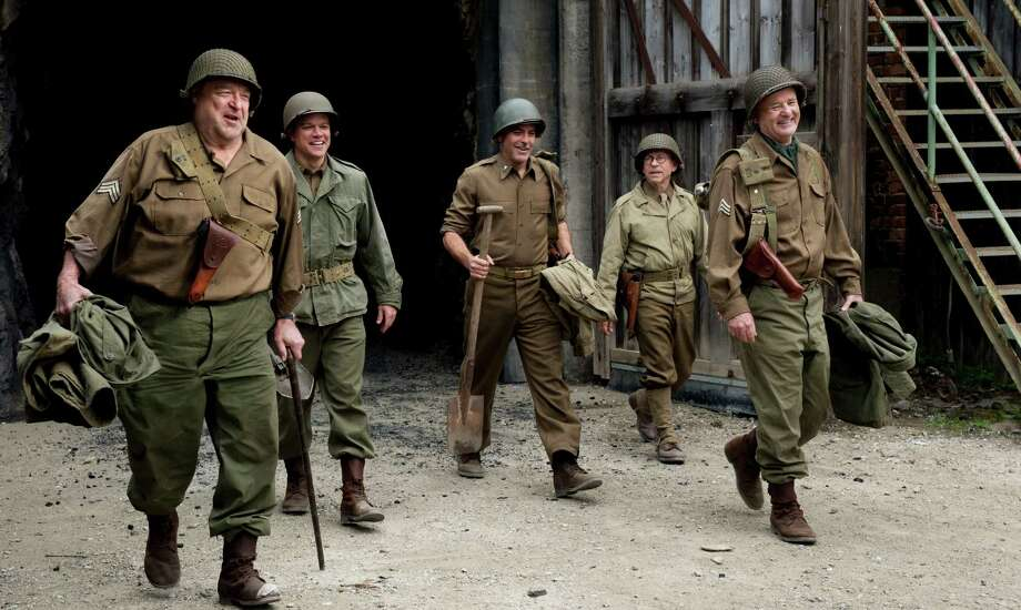 "This film image released by Columbia Pictures shows, from left, John Goodman, Matt Damon, George Clooney, Bob Balaban and Bill Murray in ""The Monuments Men."" Photo: AP"