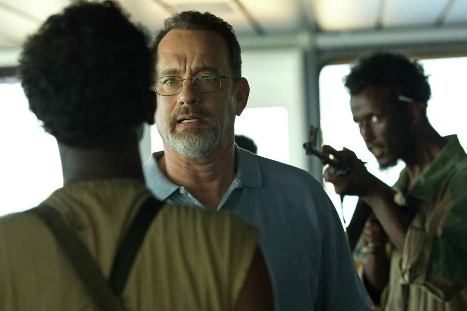 "This film image released by Sony - Columbia Pictures shows Tom Hanks, center, in ""Captain Phillips."" Photo: AP"