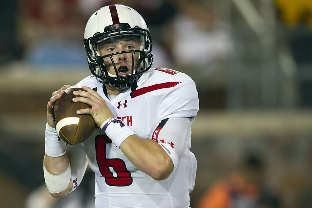 DALLAS, TX - AUGUST 30: Baker Mayfield #6 of the Texas Tech Red Raiders throws a pass against the Southern Methodist Mustangs on August 30, 2013 at Gerald J. Ford Stadium in Dallas, Texas. (Photo by Cooper Neill/Getty Images)