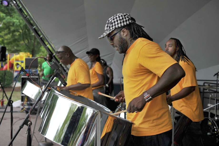 De 4 Ahwee & Co., a steel band from Bloomfield, Conn. play at the Carribean Jerk Fest on the CityCenter Green in Danbury, Conn. Sunday, Sept. 1, 2013. Photo: Carol Kaliff / The News-Times