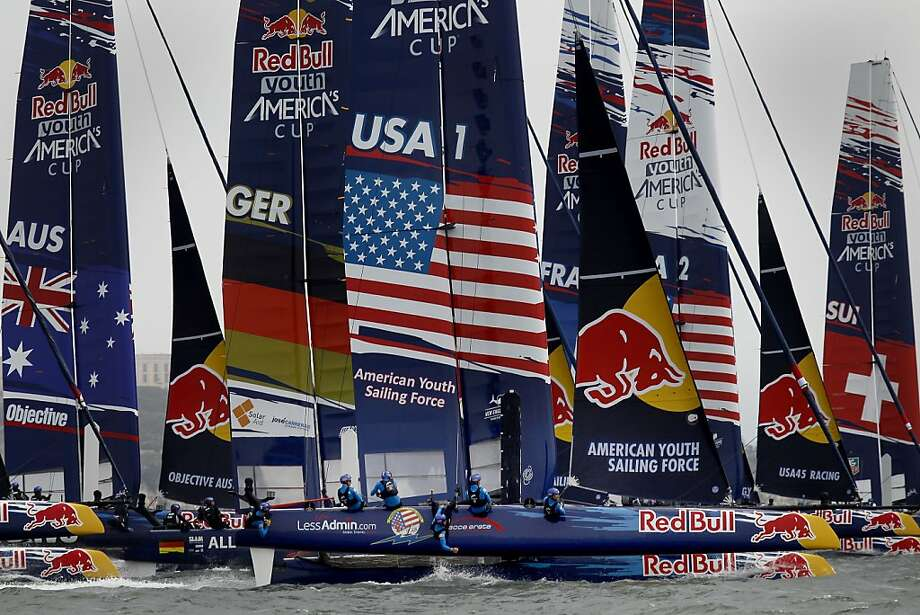 The American Youth Sailing Force boat earned a wire-to wire win in the first race of the Red Bull Youth America's Cup. It is tied for third after two races. Photo: Brant Ward, The Chronicle
