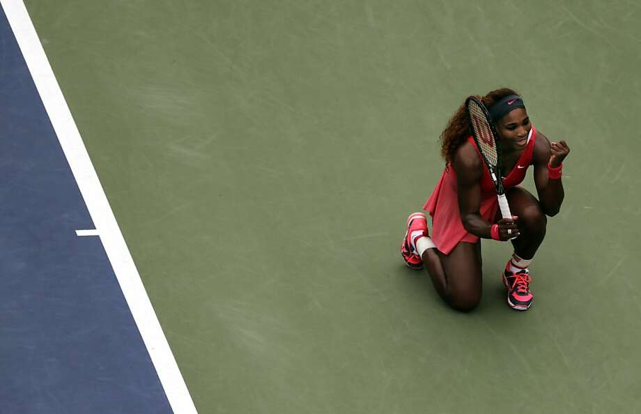 Serena Williams is pumped during her straight-sets victory over Sloane Stephens in the fourth round of the U.S. Open. Photo: Charles Krupa, Associated Press