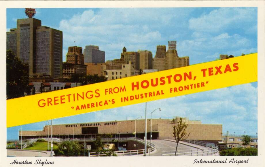 HOUSTON - 1958:  Vintage postcard showing a split view of the Houston Skyline (top) and Houston International Airport (bottom). (Photo by Lake County Museum/Getty Images) Photo: Curt Teich Postcard Archives, Getty Images