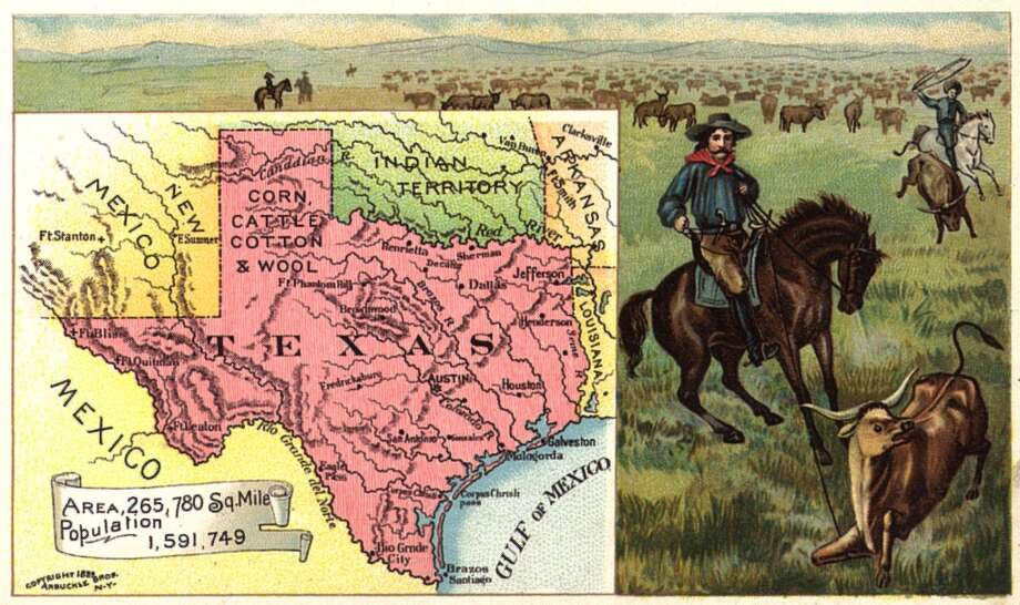 UNITED STATES - CIRCA 1895:  Color lithographic trade card published by Donaldson Brothers for Arbuckle Coffee depicting a map of Texas, the US' Lone Star State, The card highlights the cattle ranching industry  (Photo by Transcendental Graphics/Getty Images) Photo: Getty Images