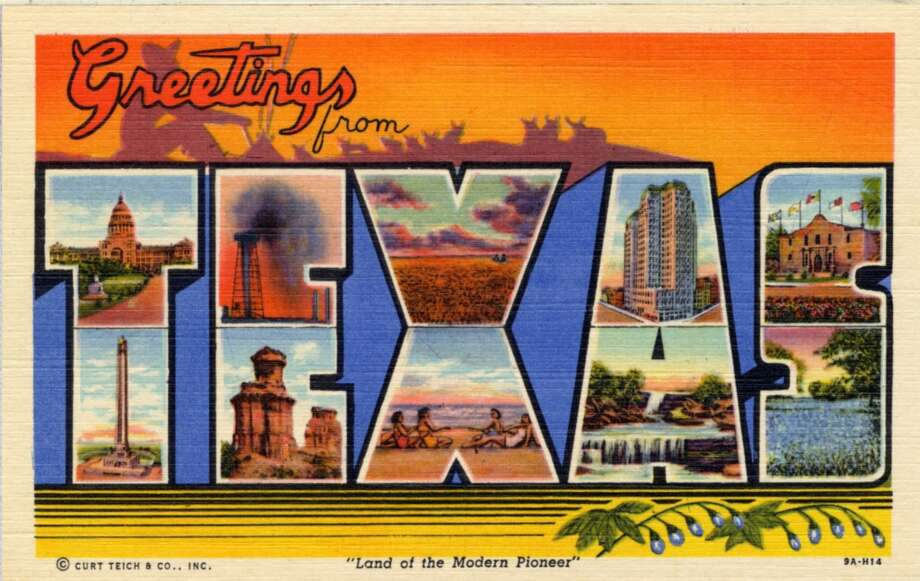 "Large letter postcard of Texas showing views of the state in each letter, with copy that reads ""Greetings from Texas"", 1939. (Photo by Lake County Museum/Getty Images) Photo: Getty Images"
