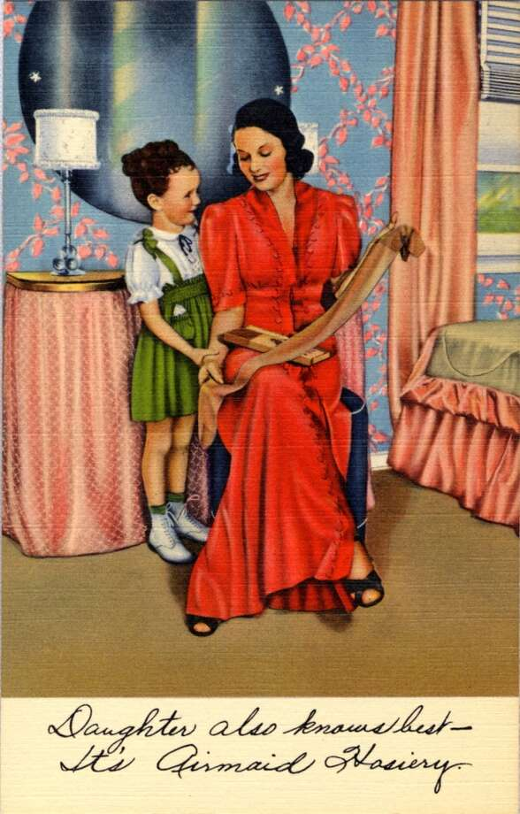 UNITED STATES - CIRCA 1940:  Postcard advertisement for Airmaid Hosiery showing a mother and daughter in a bedroom looking at a pair of hosiery.  (Photo by Lake County Museum/Getty Images) Photo: Getty Images