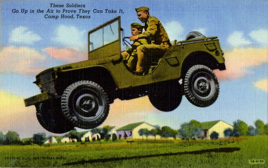 UNITED STATES - CIRCA 1943:  Postcard view showing two soldiers riding in a jeep that is airborne.  (Photo by Lake County Museum/Getty Images) Photo: Getty Images