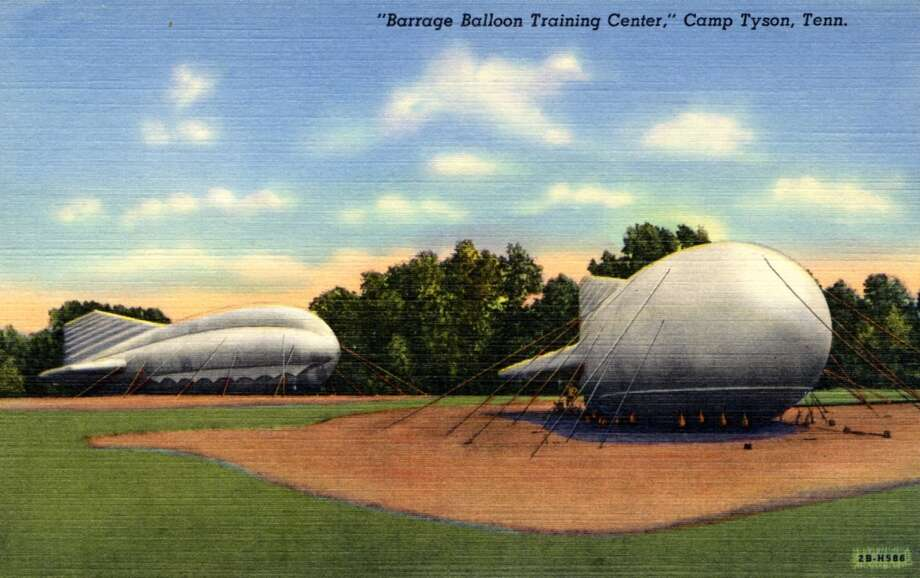 UNITED STATES - CIRCA 1942:  Postcard view of barrage balloons tethered to the groung.  (Photo by Lake County Museum/Getty Images) Photo: Getty Images