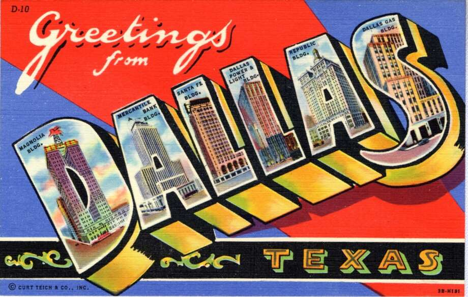 UNITED STATES - CIRCA 1943:  Large Letter postcard showing view of Dallas in each letter.  (Photo by Lake County Museum/Getty Images) Photo: Getty Images