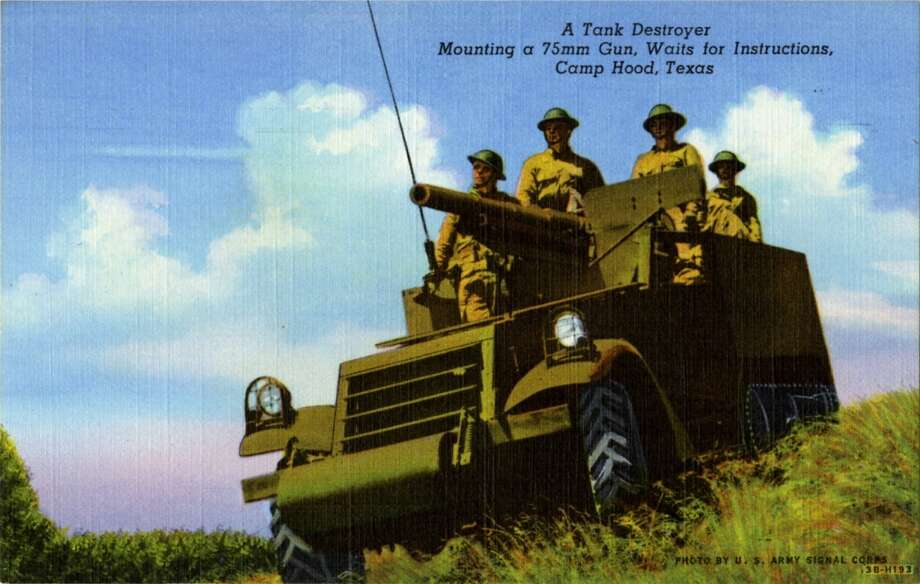 UNITED STATES - CIRCA 1943:  Postcard view of soldiers sitting in tamk destroyerthat has a 75mm gun mounted in it.  (Photo by Lake County Museum/Getty Images) Photo: Getty Images