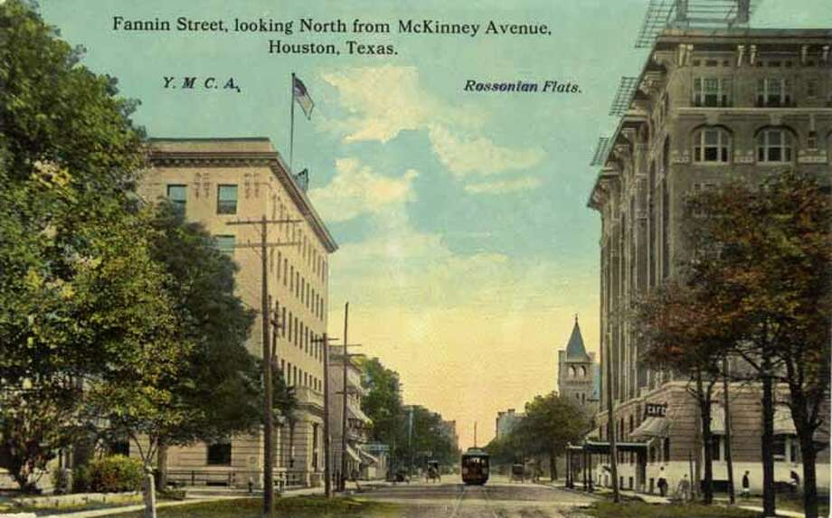 HOUSTON - 1911:  Vintage postcard showing a view looking north on Fannin Street in Houston. (Photo by Lake County Museum/Getty Images) Photo: Curt Teich Postcard Archives, Getty Images / Archive Photos