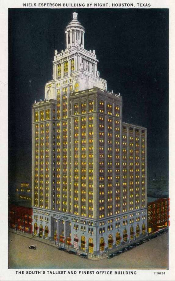 HOUSTON - 1928:  Vintage postcard showing the Niels Esperson Building in Houston at night. (Photo by Lake County Museum/Getty Images) Photo: Curt Teich Postcard Archives, Getty Images