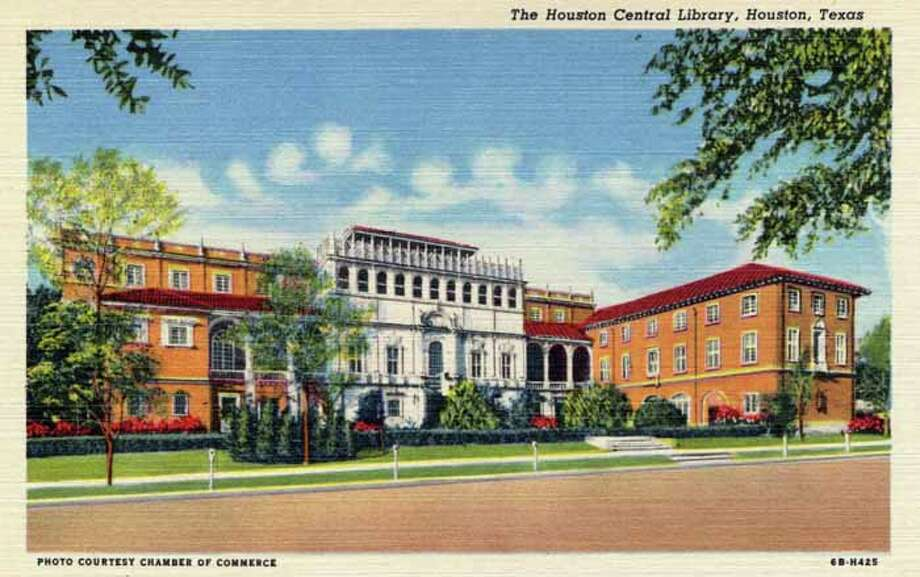 HOUSTON - 1946:  Vintage postcard showing the front exterior of the Houston Central Library from across the street. (Photo by Lake County Museum/Getty Images) Photo: Curt Teich Postcard Archives, Getty Images / Archive Photos