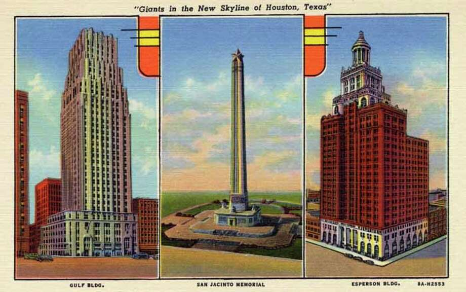HOUSTON - 1938:  Vintage postcard showing separate views of the Gulf Building, San Jacinto Memorial and Esperson Building. (Photo by Lake County Museum/Getty Images) Photo: Curt Teich Postcard Archives, Getty Images / Archive Photos