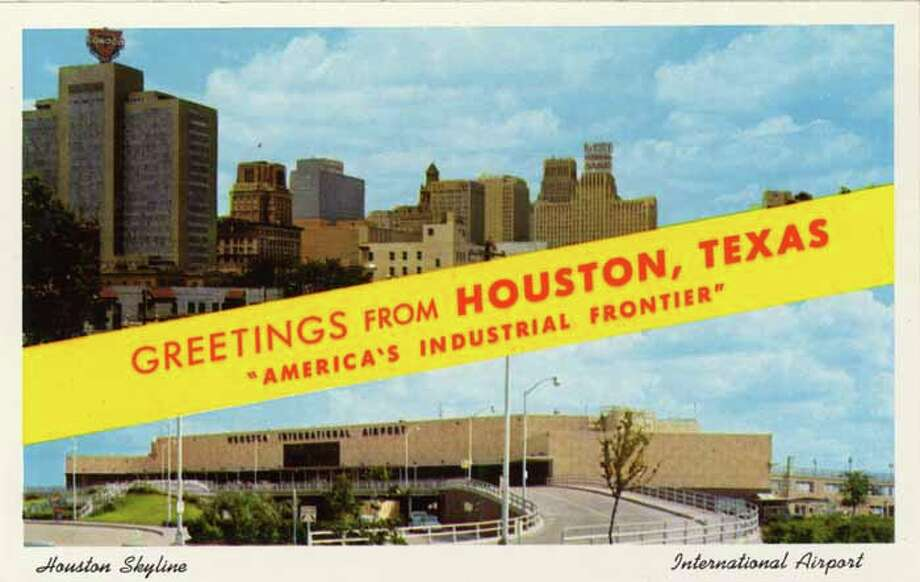 HOUSTON - 1958:  Vintage postcard showing a split view of the Houston Skyline (top) and Houston International Airport (bottom). (Photo by Lake County Museum/Getty Images) Photo: Curt Teich Postcard Archives, Getty Images / Archive Photos