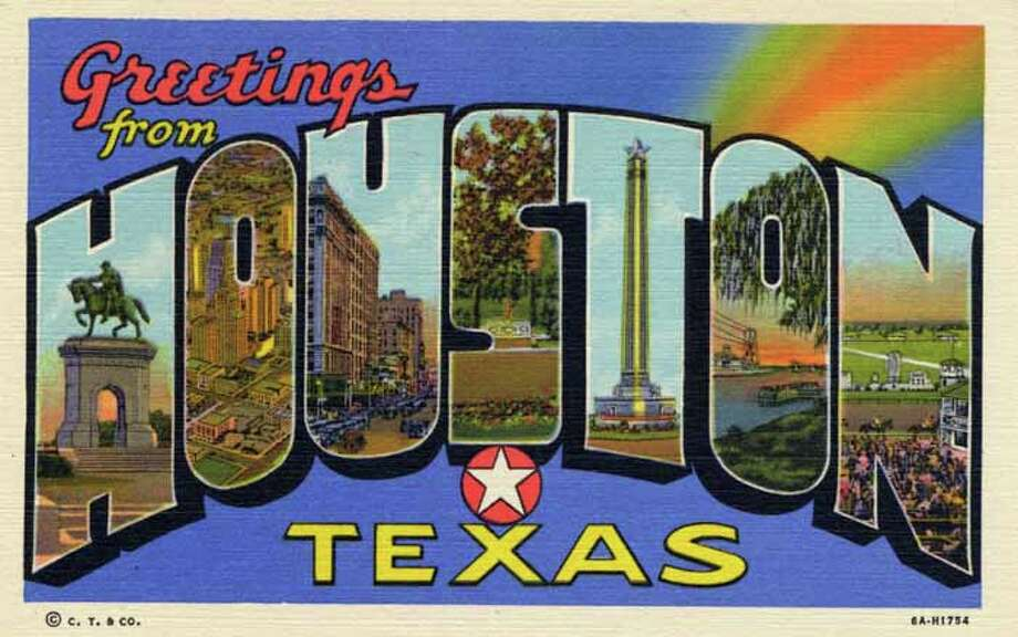 "HOUSTON - 1936:  Vintage postcard showing a large letter ""Greetings from Houston"" card with various Houston monuments and scenes in each letter. (Photo by Lake County Museum/Getty Images) Photo: Curt Teich Postcard Archives, Getty Images / Archive Photos"