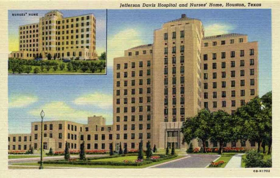 HOUSTON - 1940:  Vintage postcard showing the Jefferson Davis Hospital, with an inset view of the Nurses' Home. (Photo by Lake County Museum/Getty Images) Photo: Curt Teich Postcard Archives, Getty Images / Archive Photos
