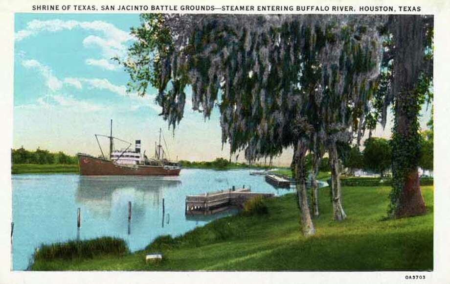 HOUSTON - 1930:  Vintage postcard showing the Shrine of Texas, the San Jacinto Battlr Grounds, A steamship is entering the Buffalo River. (Photo by Lake County Museum/Getty Images) Photo: Curt Teich Postcard Archives, Getty Images / Archive Photos