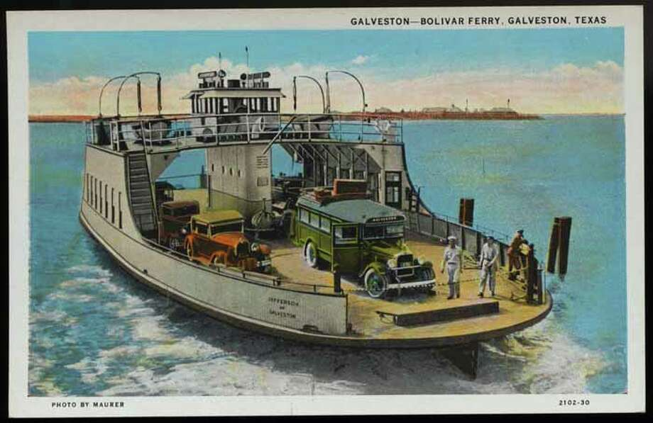 UNSPECIFIED - CIRCA 1930: Postcard of Ferry Crossing Galveston Bay. ca. 1930, GALVESTON-BOLIVAR FERRY, GALVESTON, TEXAS. Galveston-Bolivar Ferry motor coaches cross Galveston Bay on modern ocean-going Highway Ferries. Only fifteen minutes time required in crossing bay. (Photo by LCDM Universal History Archive/Getty Images) Photo: UniversalImagesGroup, Getty Images / Universal Images Group Editorial