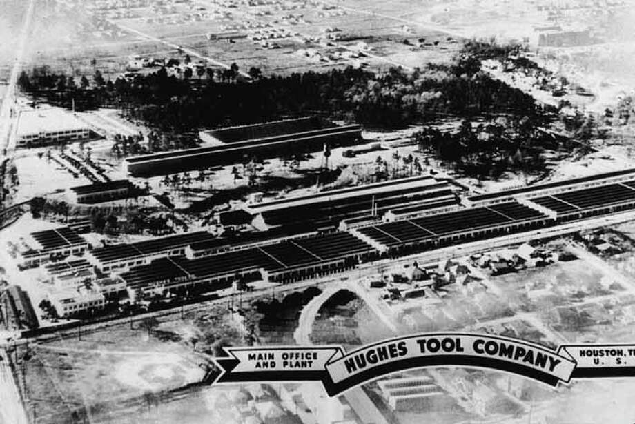 Postcard shows an aerial view of the main offices and plant of the Hughes Tool Co., owned by American industrialist, aviator, and film producer Howard Hughes, Houston, Texas, August 15, 1938. (Photo by Hulton Archive/Getty Images) Photo: Hulton Archive, Getty Images / 2004 Getty Images