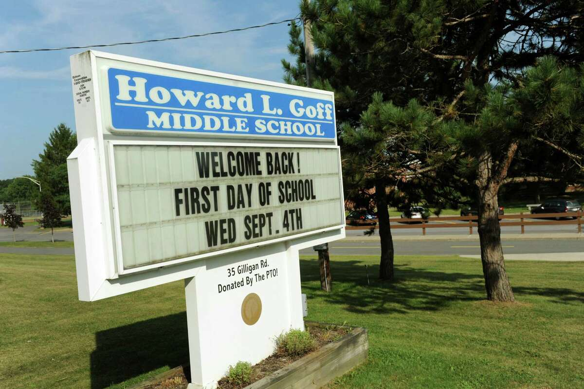 A message board welcomes students back to school on Friday, Aug. 30, 2013, at Howard L. Goff Middle School in East Greenbush, N.Y. (Cindy Schultz / Times Union)
