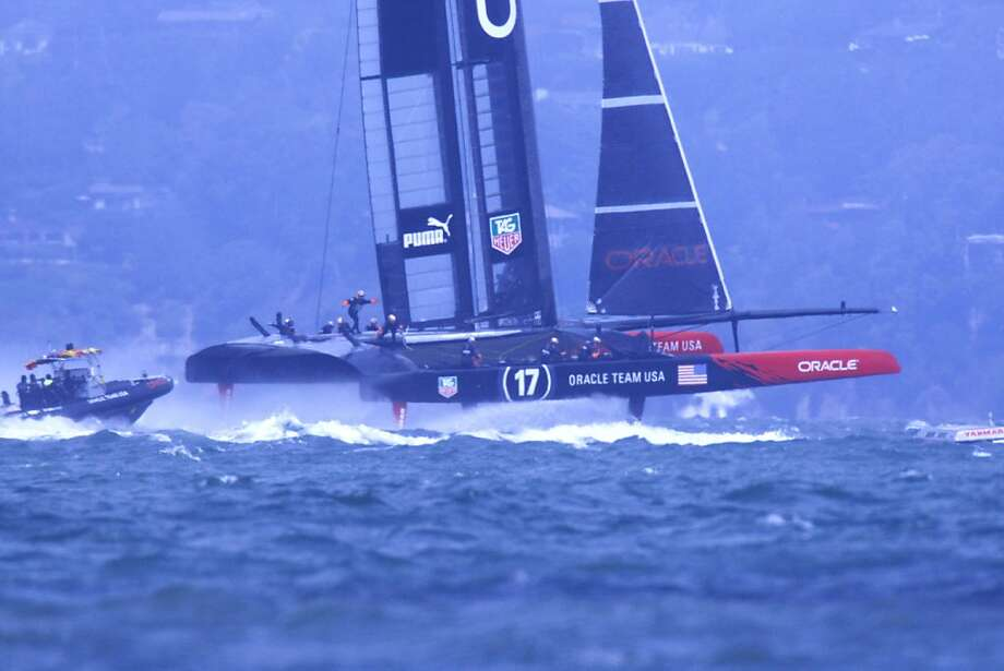Like their rivals, Oracle Team USA sailors need to be more versatile in order to operate their 72-foot catamarans. Photo: Raphael Kluzniok, The Chronicle