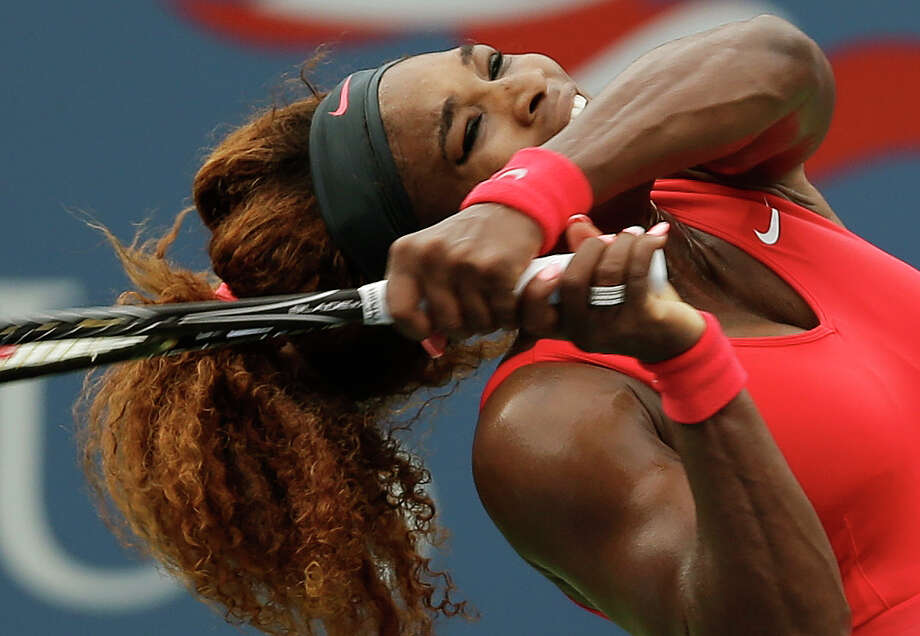 Serena Williams puts her full force behind a return to Sloane Stephens. Photo: Darron Cummings, STF / AP