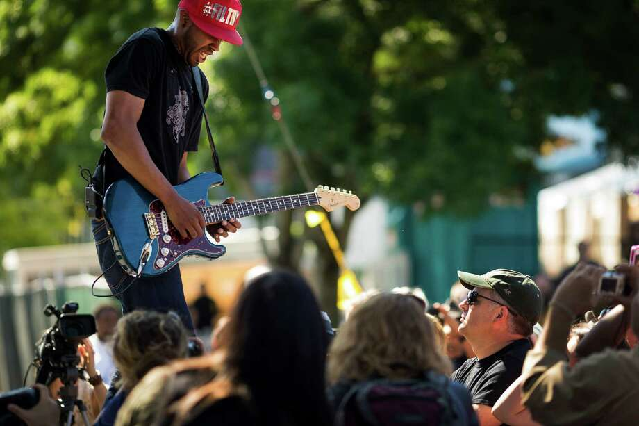 Aryon Jones & The Way perform on the second day of the annual Bumbershoot arts and music festival Sunday, September 1, 2013, at Seattle Center in Seattle. The festival continues Monday. Photo: JORDAN STEAD, SEATTLEPI.COM / SEATTLEPI.COM
