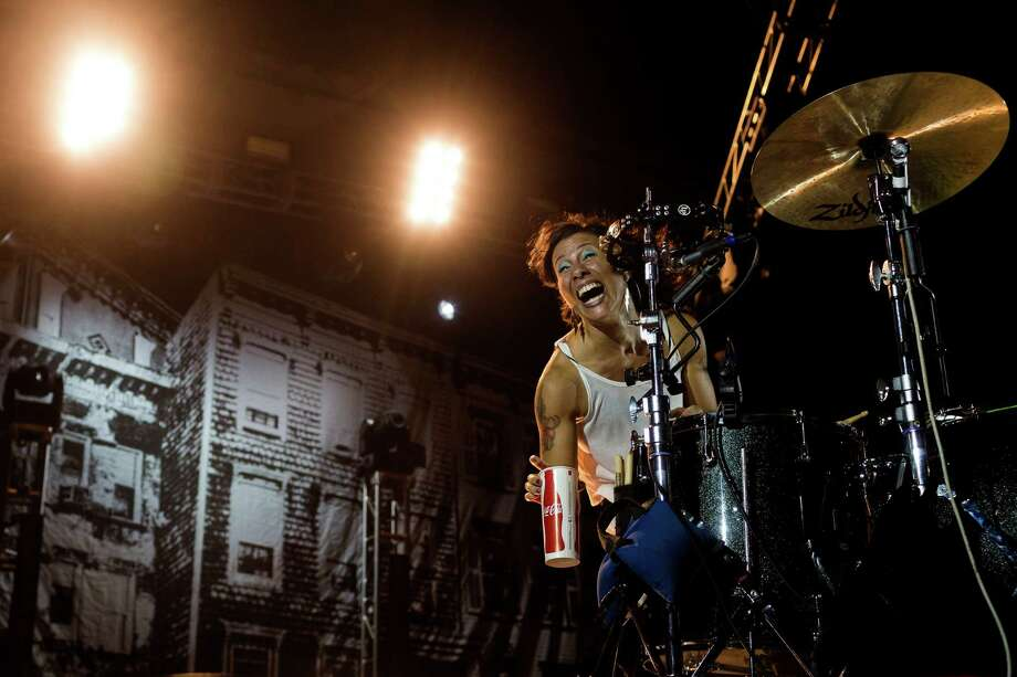 Kim, of Matt & Kim, performs on the second day of the annual Bumbershoot arts and music festival Sunday, September 1, 2013, at Seattle Center in Seattle. The festival continues Monday. Photo: JORDAN STEAD, SEATTLEPI.COM / SEATTLEPI.COM