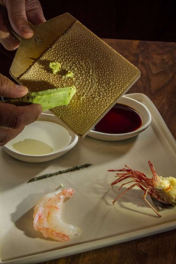 Fresh Wasabi being grated over the live Spot Prawn Sashimi at Michael Mina in San Francisco. Photo: John Storey, Special To The Chronicle