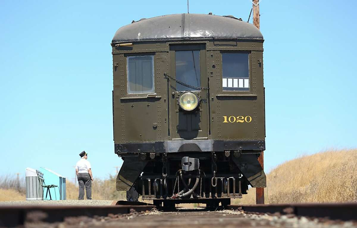 An electric train which was part of the Sacramento Northern Railroad system stops during a tour near Rio Vista, Calif., on Saturday, August 31, 2013. The rail line celebrates its 100th anniversary on Sept. 3.