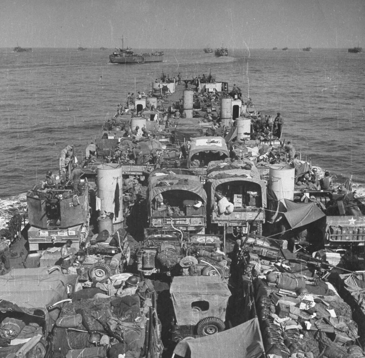 Convoy of American landing craft laden with men and supplies for the invasion of Italy at Salerno, September 1943.