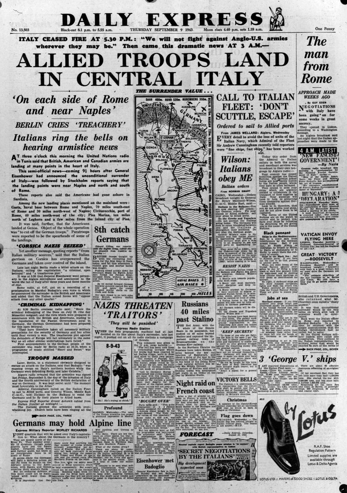 The front page of 'The Daily Express' announcing the invasion of Italy.