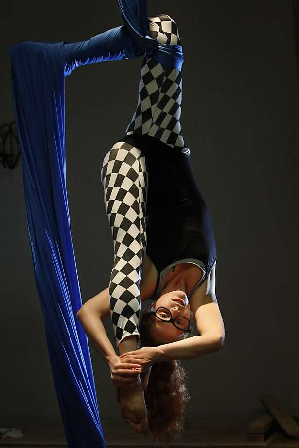 Aerialist Bunny Zlotnik rehearses with the Vespertine Circus, which she founded in 2009. Photo: Carlos Avila Gonzalez, The Chronicle