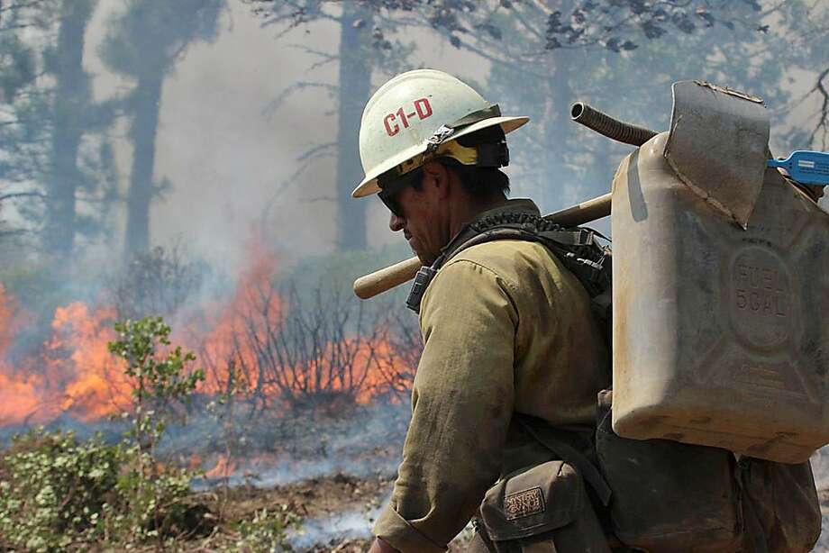 In this Friday, Aug. 30, 2013 photo provided by the U.S. Forest Service, a member of the Monterey Hotshots carries a gas can near a burn operation on the southern flank of the Rim Fire near Yosemite National Park in California. The wildfire burning in and around Yosemite National Park has become the fourth-largest conflagration in California history. Photo: Mike McMillan, Associated Press